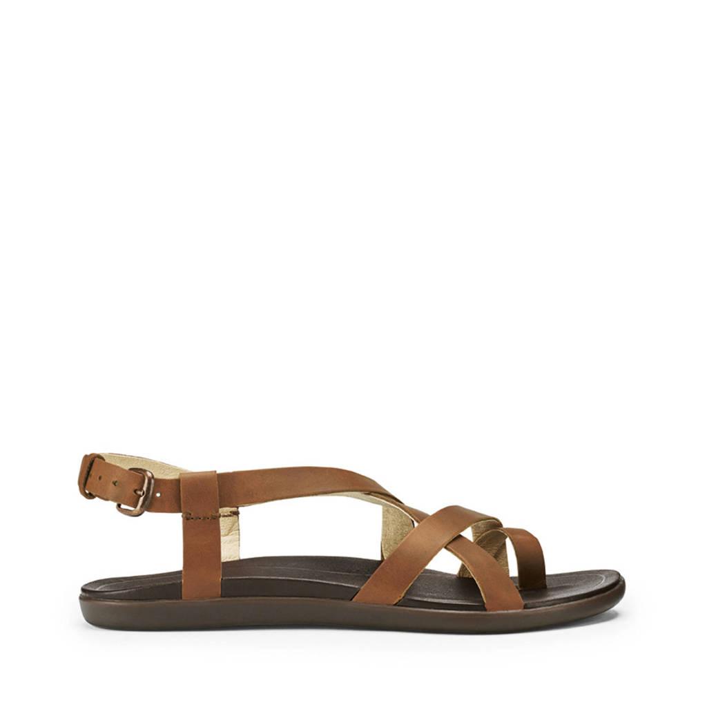 Olukai   Upena leren sandalen bruin, Bruin