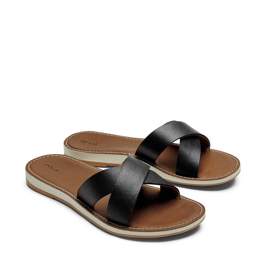 Olukai  Ke'a leren slippers Ke'a zwart/cognac, Black/Tan