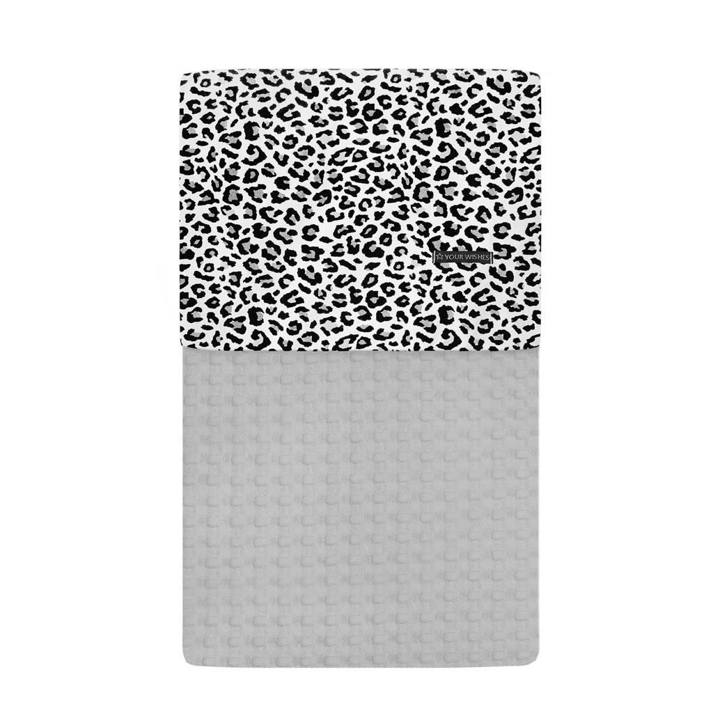 Your Wishes baby ledikantdeken 100x140 cm leopard grey, Grijs