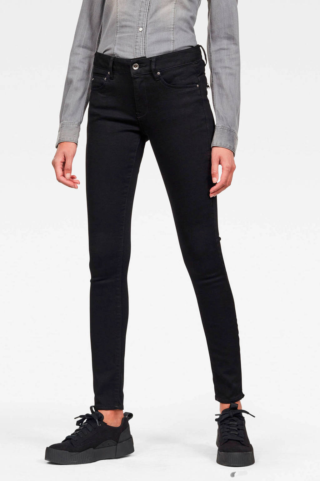 G-Star RAW skinny jeans Midge Zip pitch black, PITCH BLACK