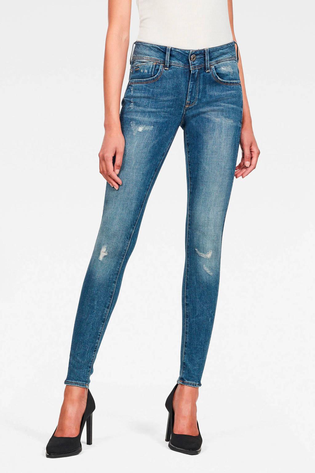 G-Star RAW Lynn super skinny jeans met slijtage stonewashed, Stonewashed