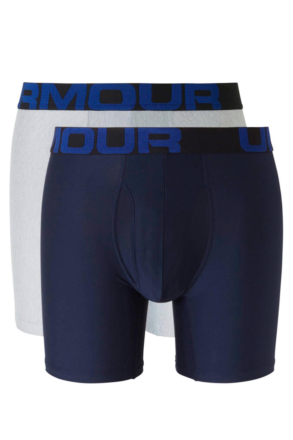 Under Armour sportboxer (set van 2) donkerblauw, Donkerblauw/grijs