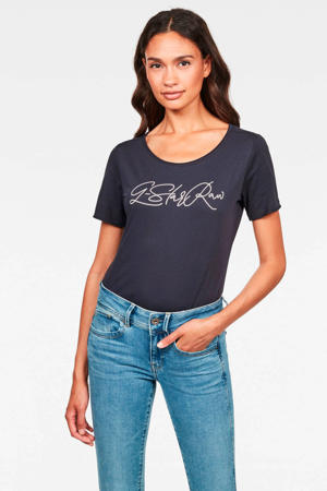 T-shirt Lyon van biologisch katoen donkerblauw/wit