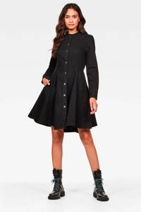 G-Star RAW A-lijn jurk Bristum met plooien, Zwart