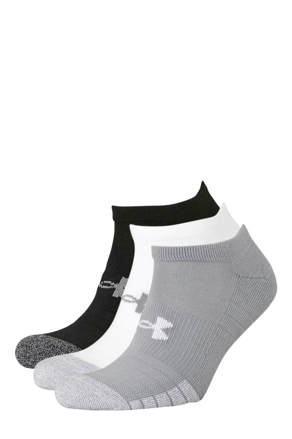 Under Armour   sportsokken grijs/wit/zwart (set van 3), Grijs/wit/zwart