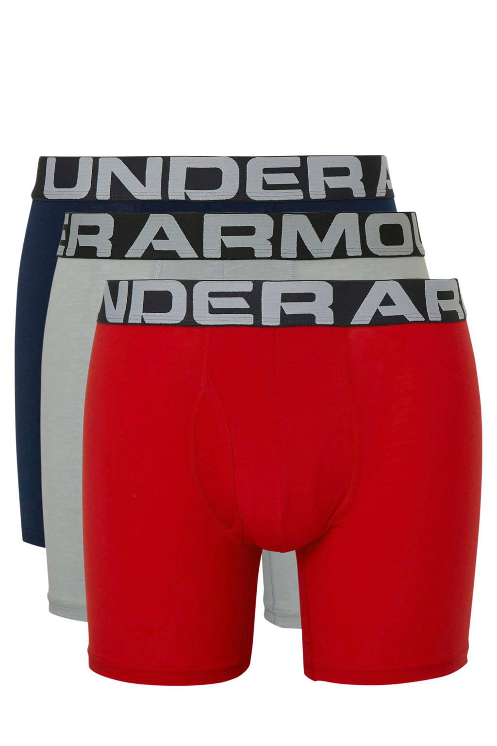 Under Armour sportboxer (set van 3), Rood/donkerblauw/lichtgrijs