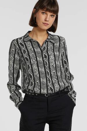 blouse met slangenprint zwart/wit