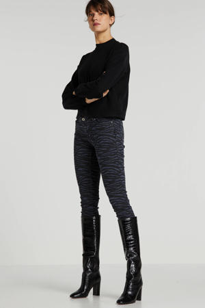slim fit jeans met zebraprint antraciet