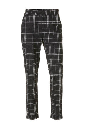 geruite slim fit pantalon zwart/zilver
