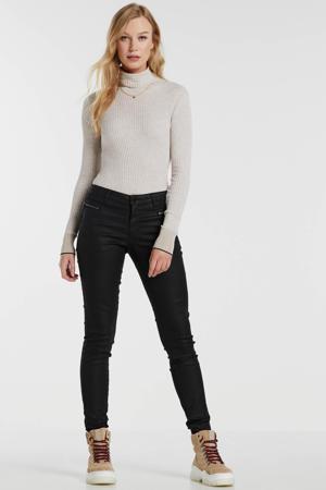coated skinny broek zwart