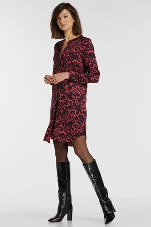 blousejurk met dierenprint rood/zwart