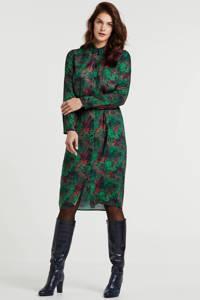 Geisha blousejurk met all over print en ceintuur groen/rood, Groen/rood