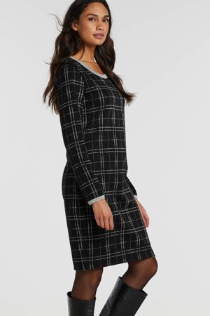 geruite jersey jurk met contrastbies en glitters zwart/zilver