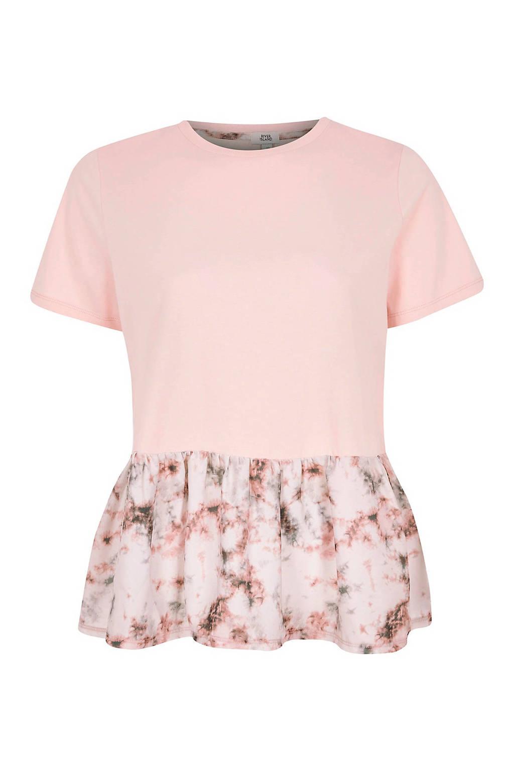 River Island T-shirt met volant roze, Roze