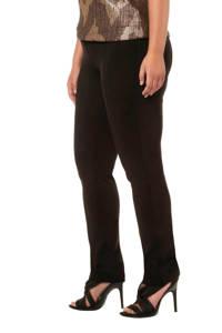 Ulla Popken high waist slim fit broek zwart, Zwart