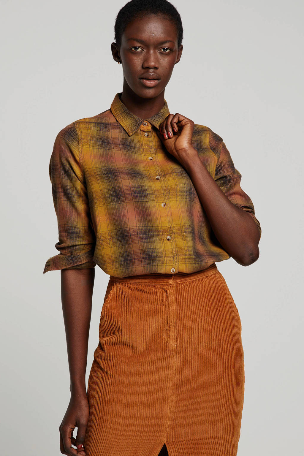 ONLY geruite blouse geel, Bruin