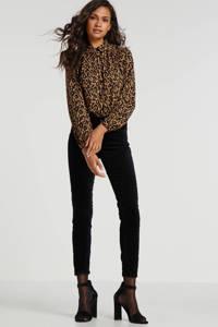 Il Dolce fluwelen skinny broek zwart, Zwart
