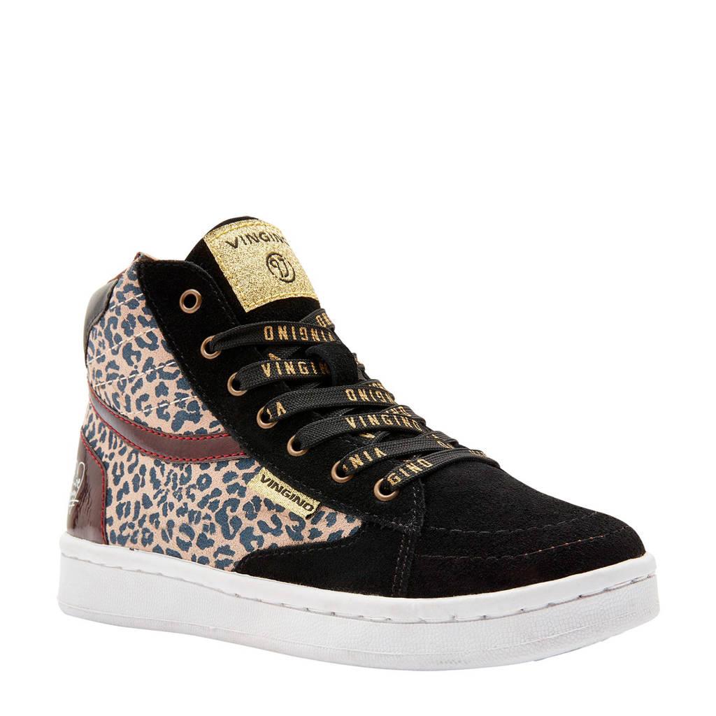 Vingino  Tessa suède sneakers panterprint, Bruin
