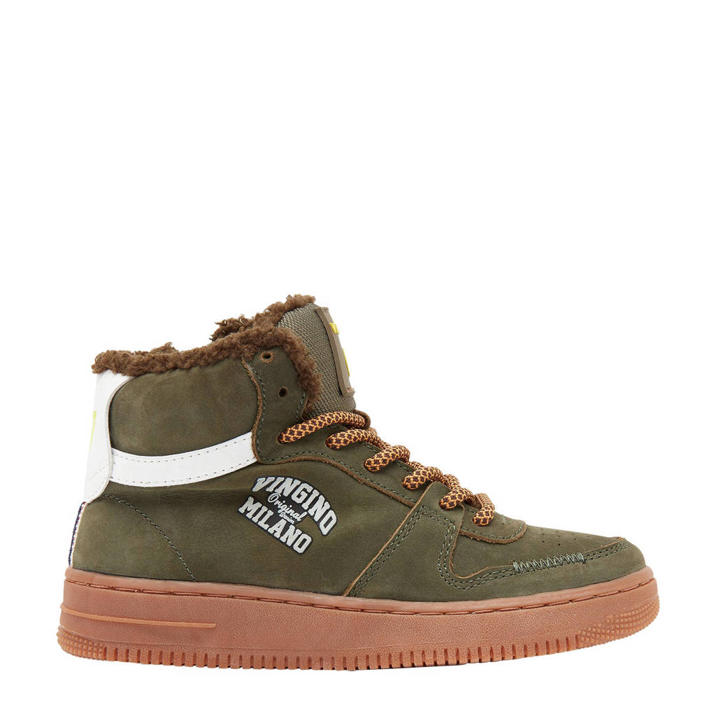 Vingino Elia Mid  halfhoge nubuck sneakers kaki, Kaki