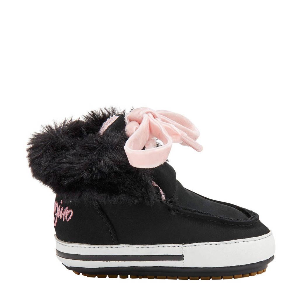 Vingino Chloe  nubuck babyschoenen zwart/roze, Zwart/roze