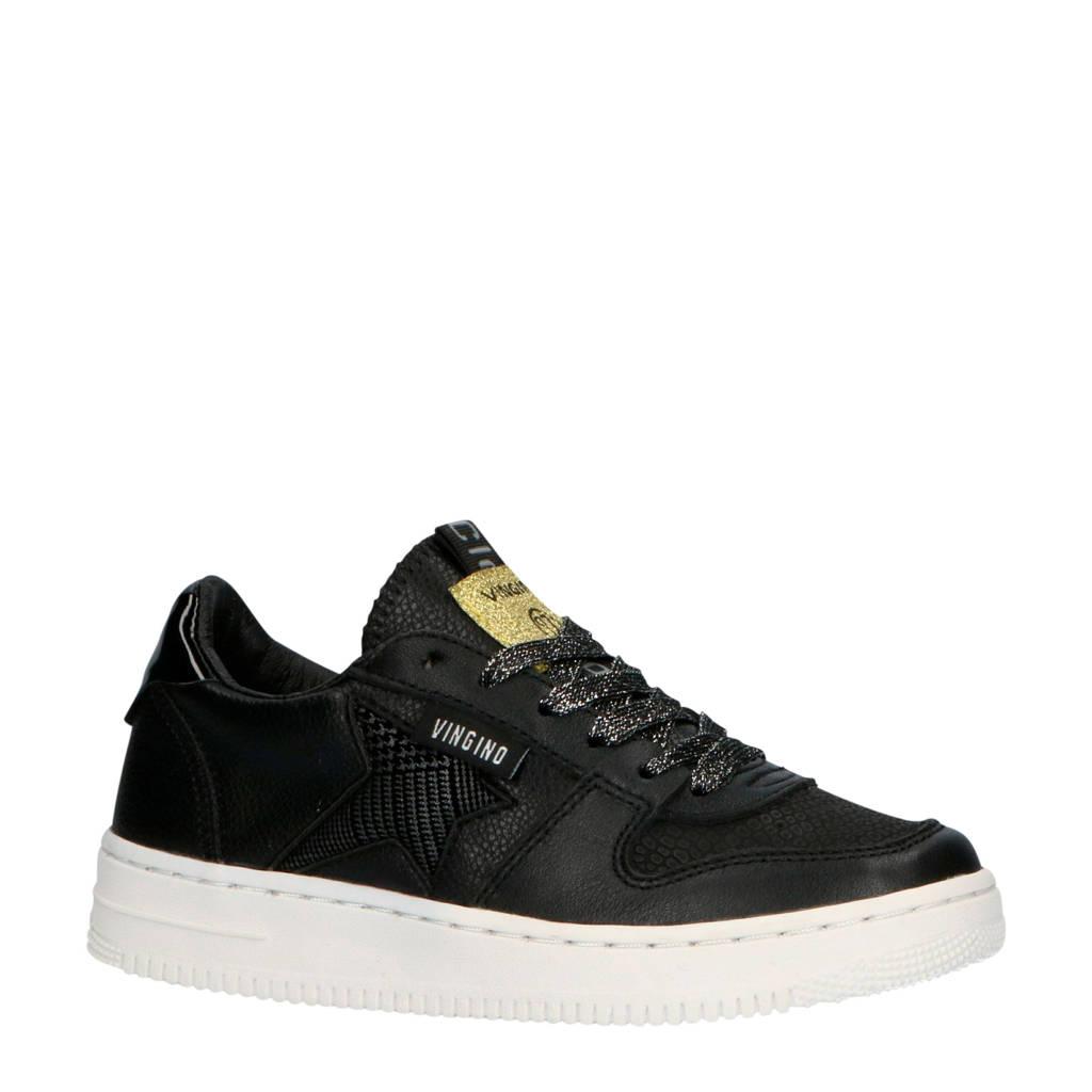 Vingino  Lotte Low leren sneakers zwart, Zwart