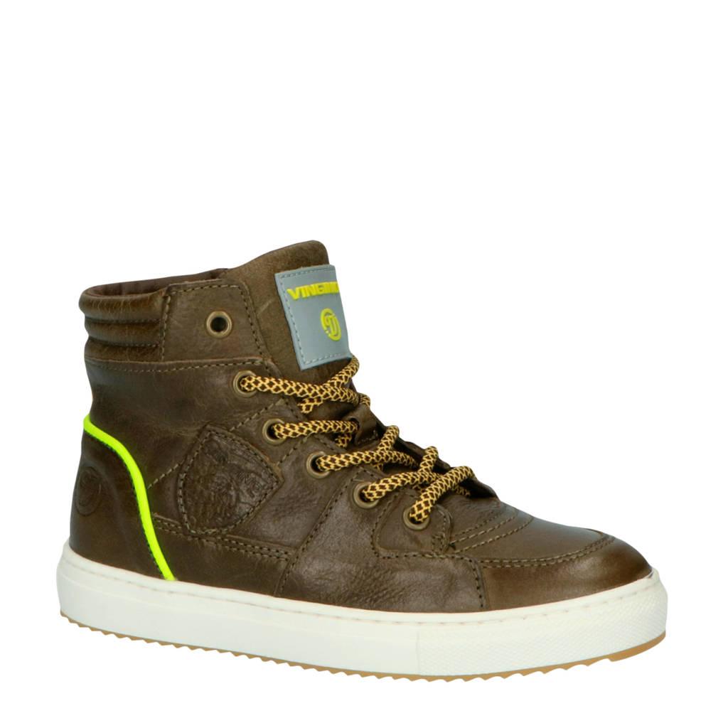 Vingino Sil Mid  hoge leren sneakers donkergroen, Donkergroen