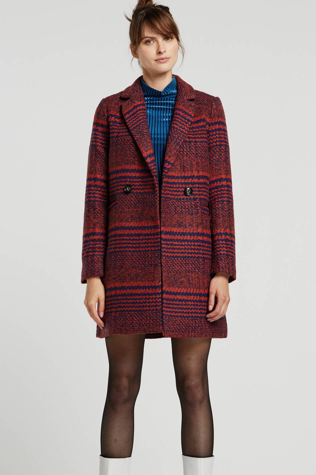 ONLY geruite coat rood/blauw, Rood