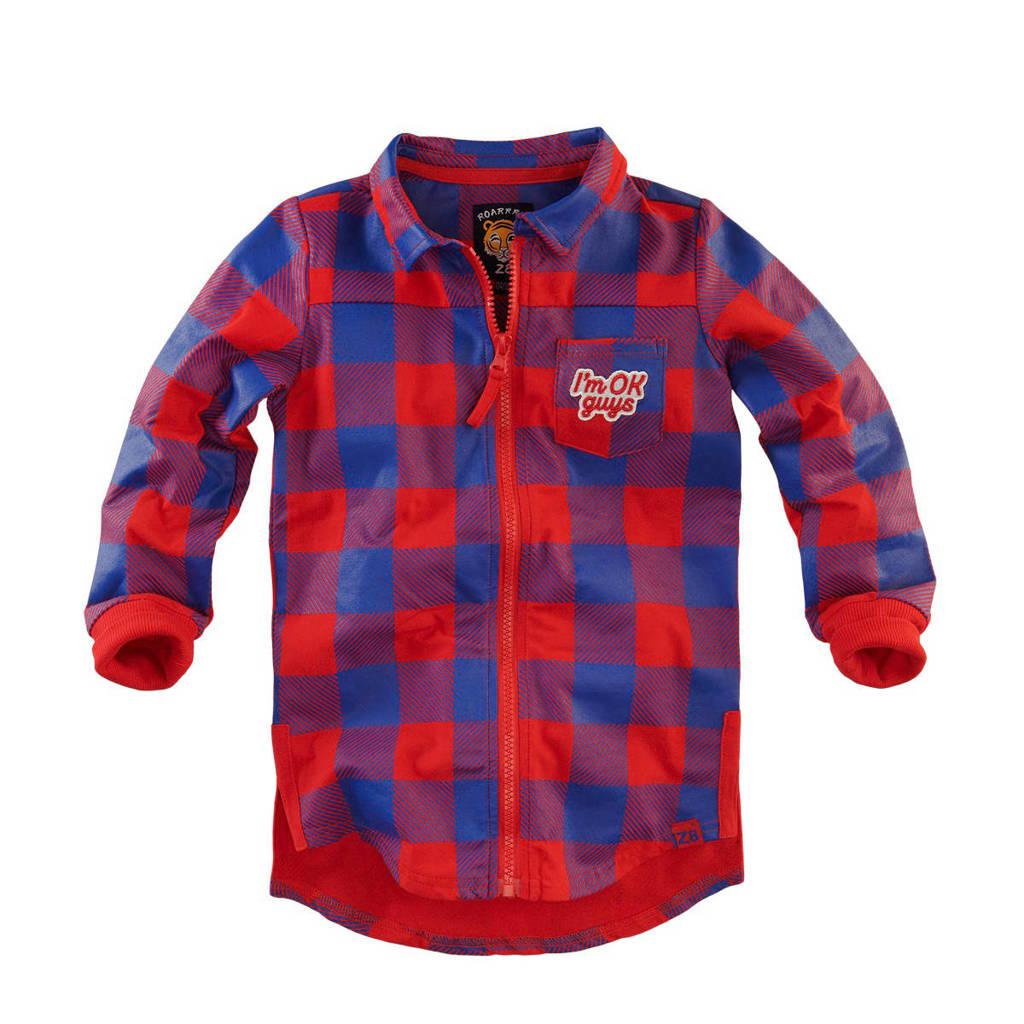 Z8 geruit overhemd Baas rood/blauw, Rood/blauw