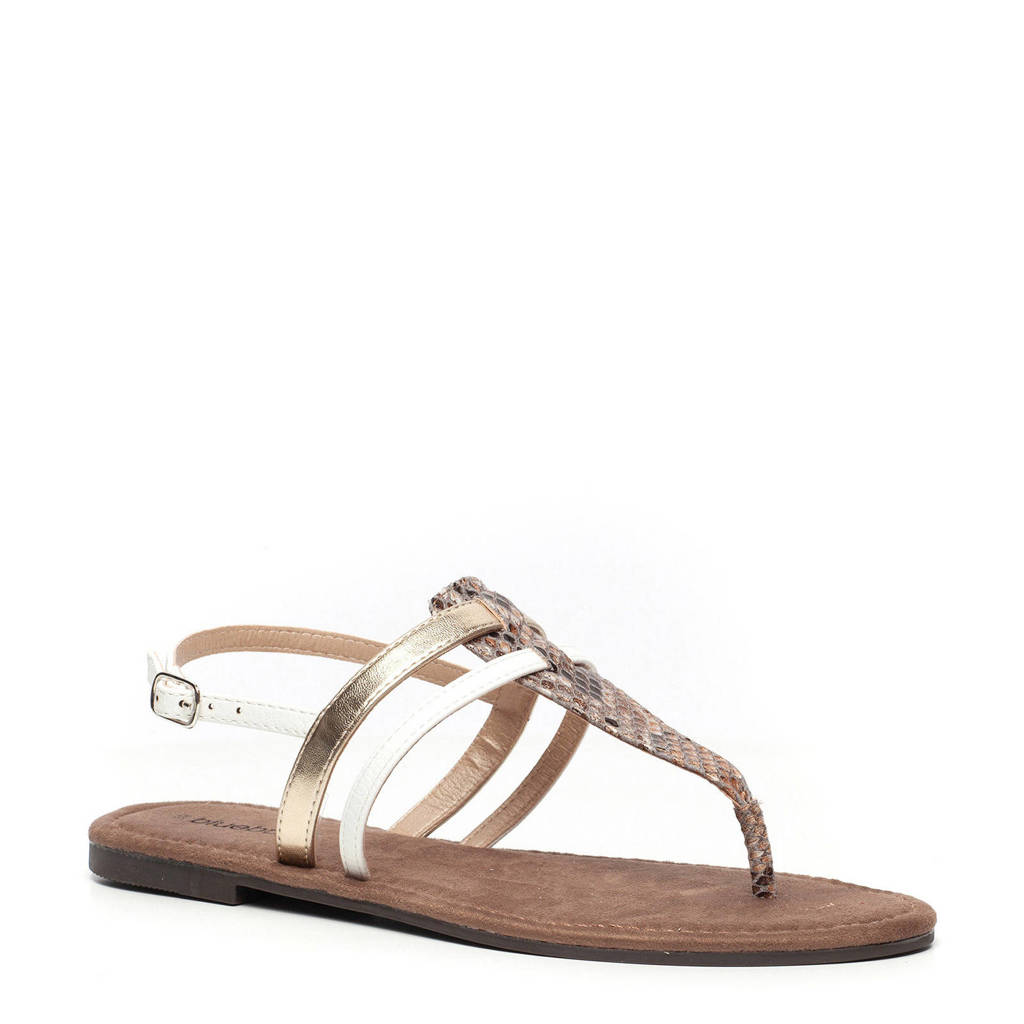 Scapino Blue Box sandalen beige/slangenprint, Wit/beige