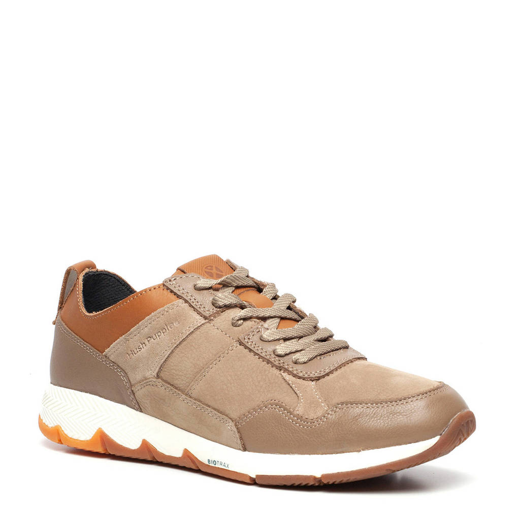 Hush Puppies   leren sneakers taupe, Taupe