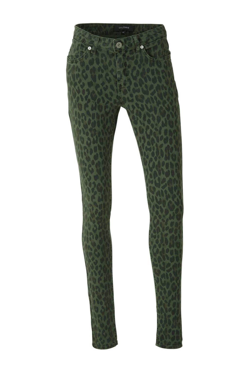 anytime skinny broek met panterprint groen, Donkergroen