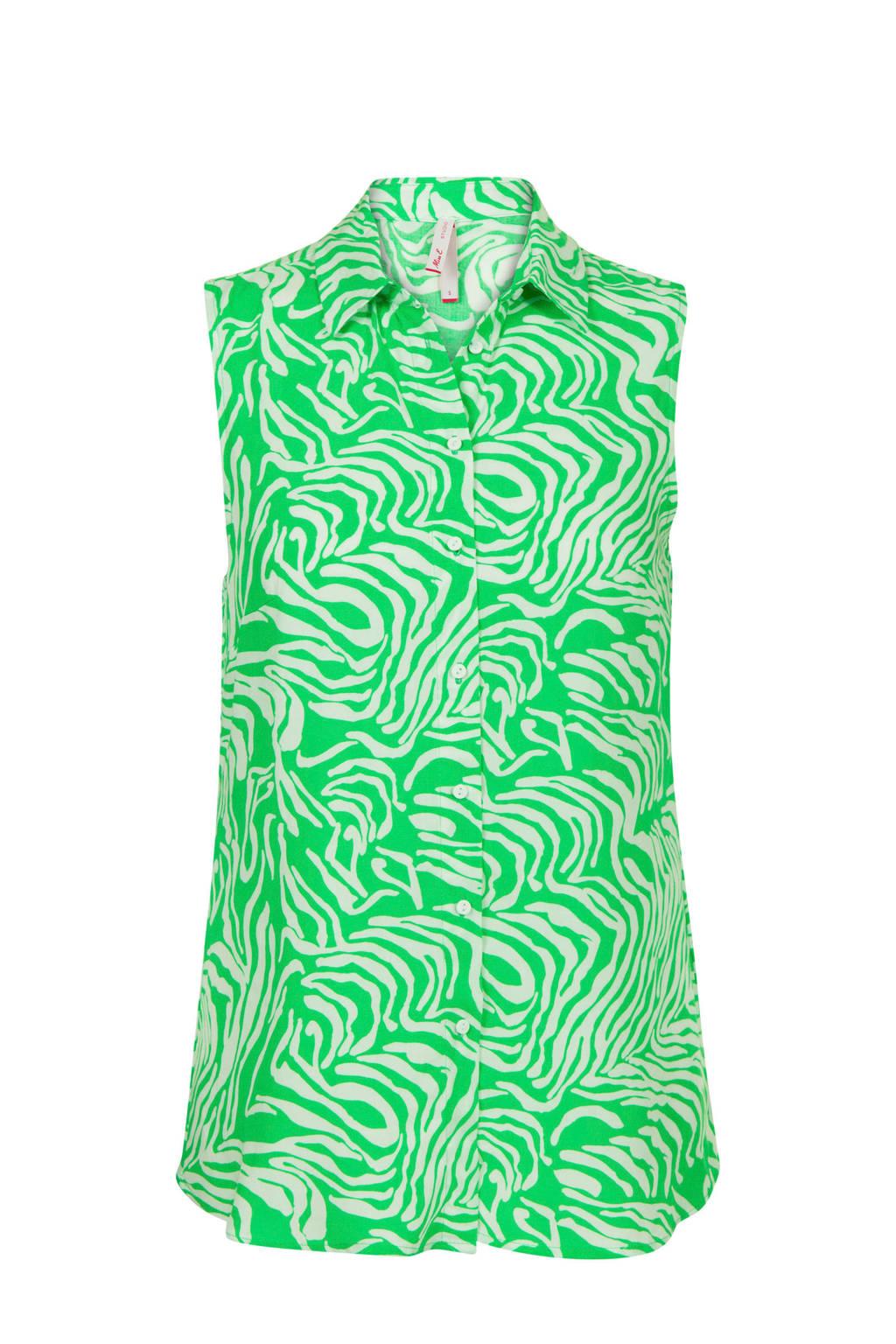 Blouse, Groen/wit