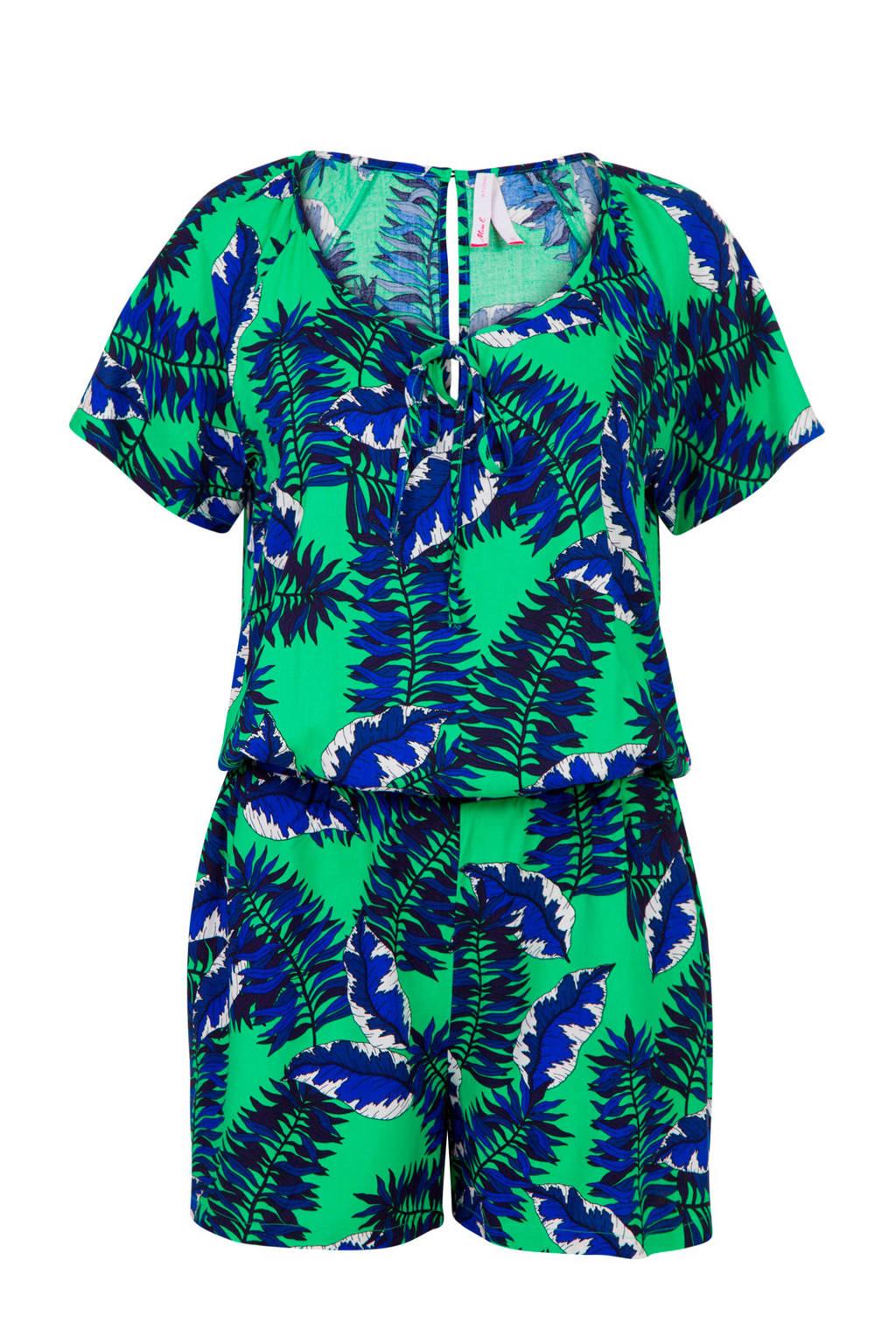 Miss Etam Regulier jumpsuit met bladprint groen/blauw, Groen/blauw