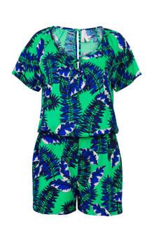 Regulier jumpsuit met bladprint groen/blauw