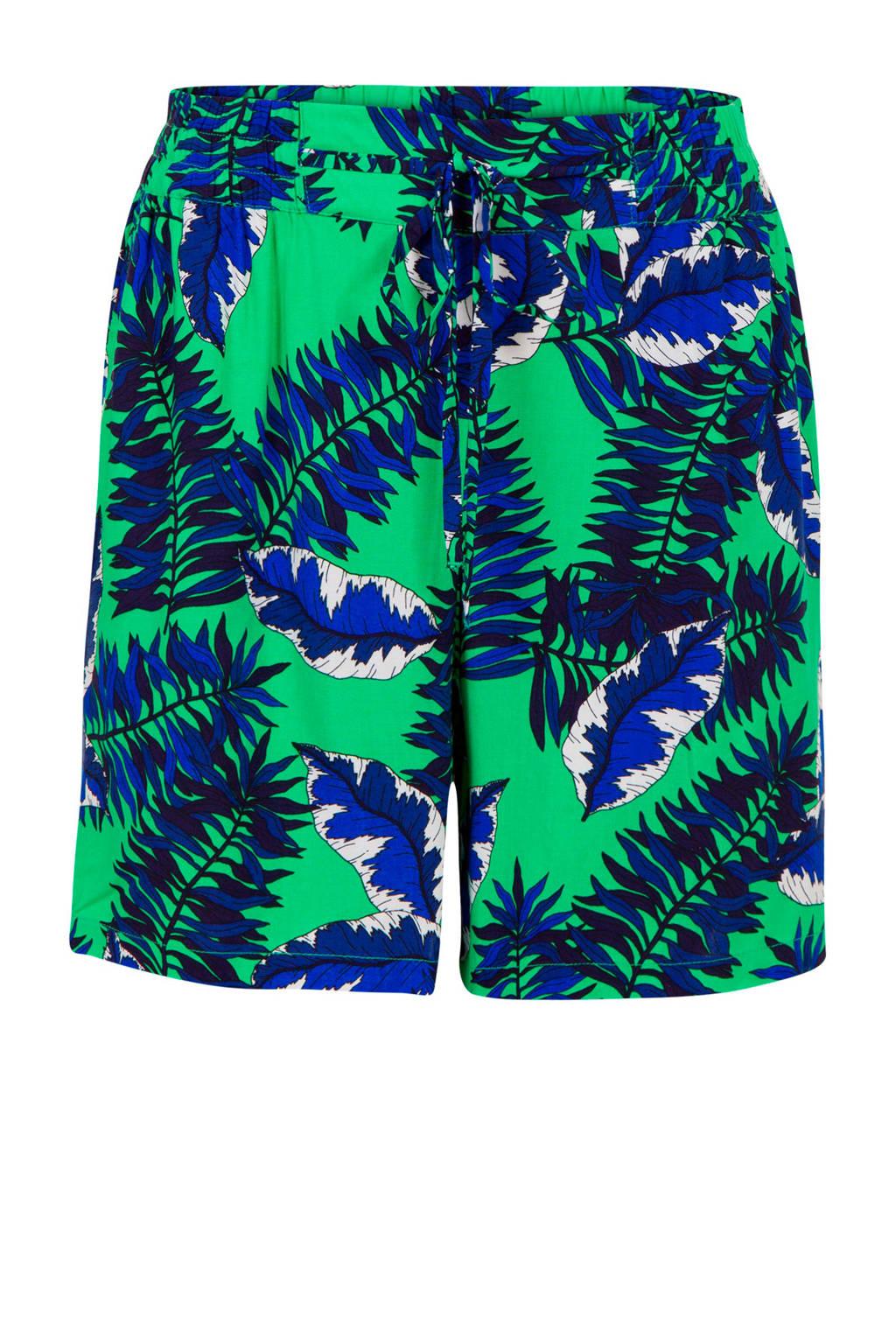 Miss Etam Regulier regular fit short met zijstreep groen/blauw, Groen/blauw
