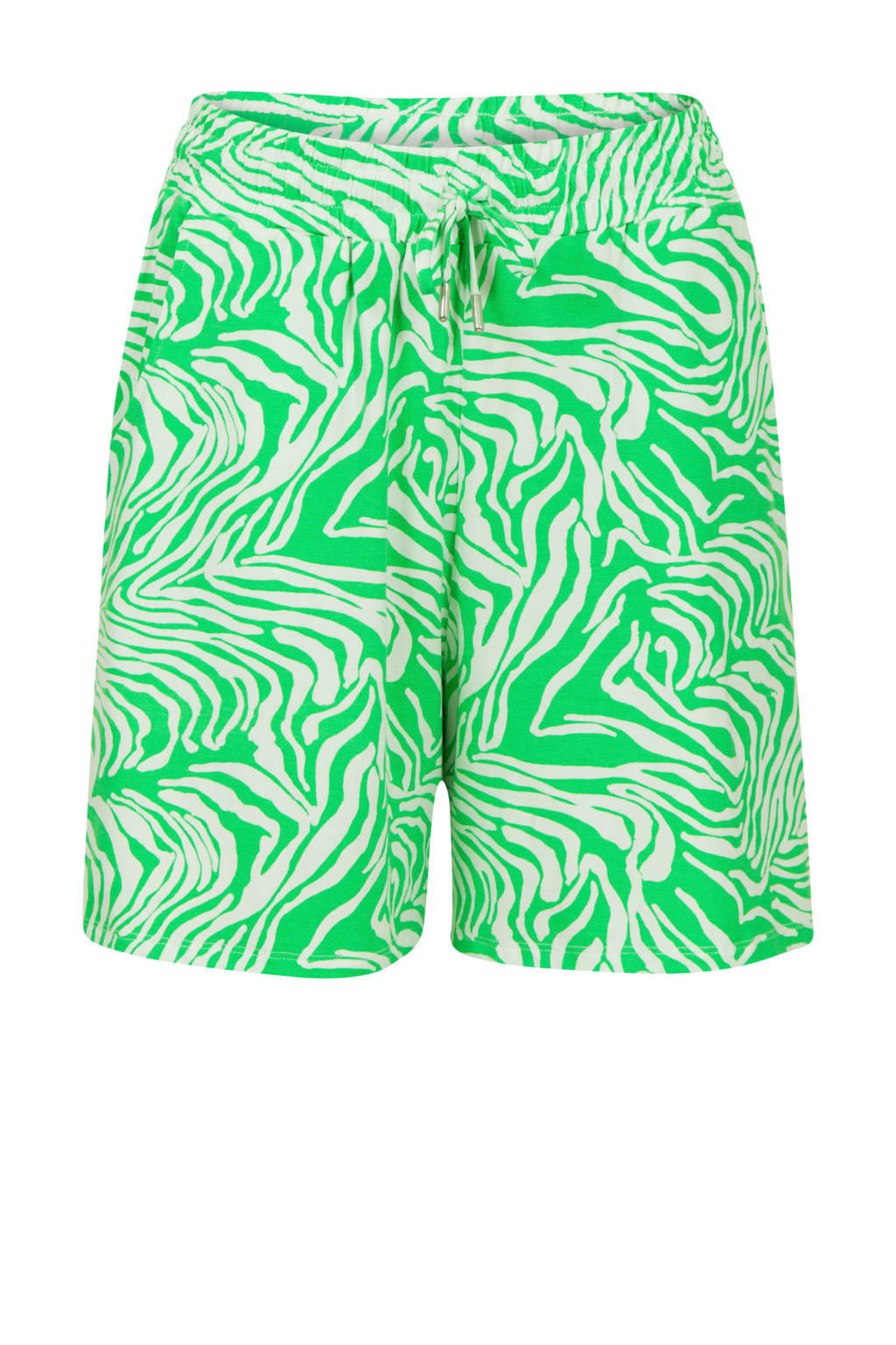 Miss Etam Regulier loose fit bermuda met all over print groen, Groen