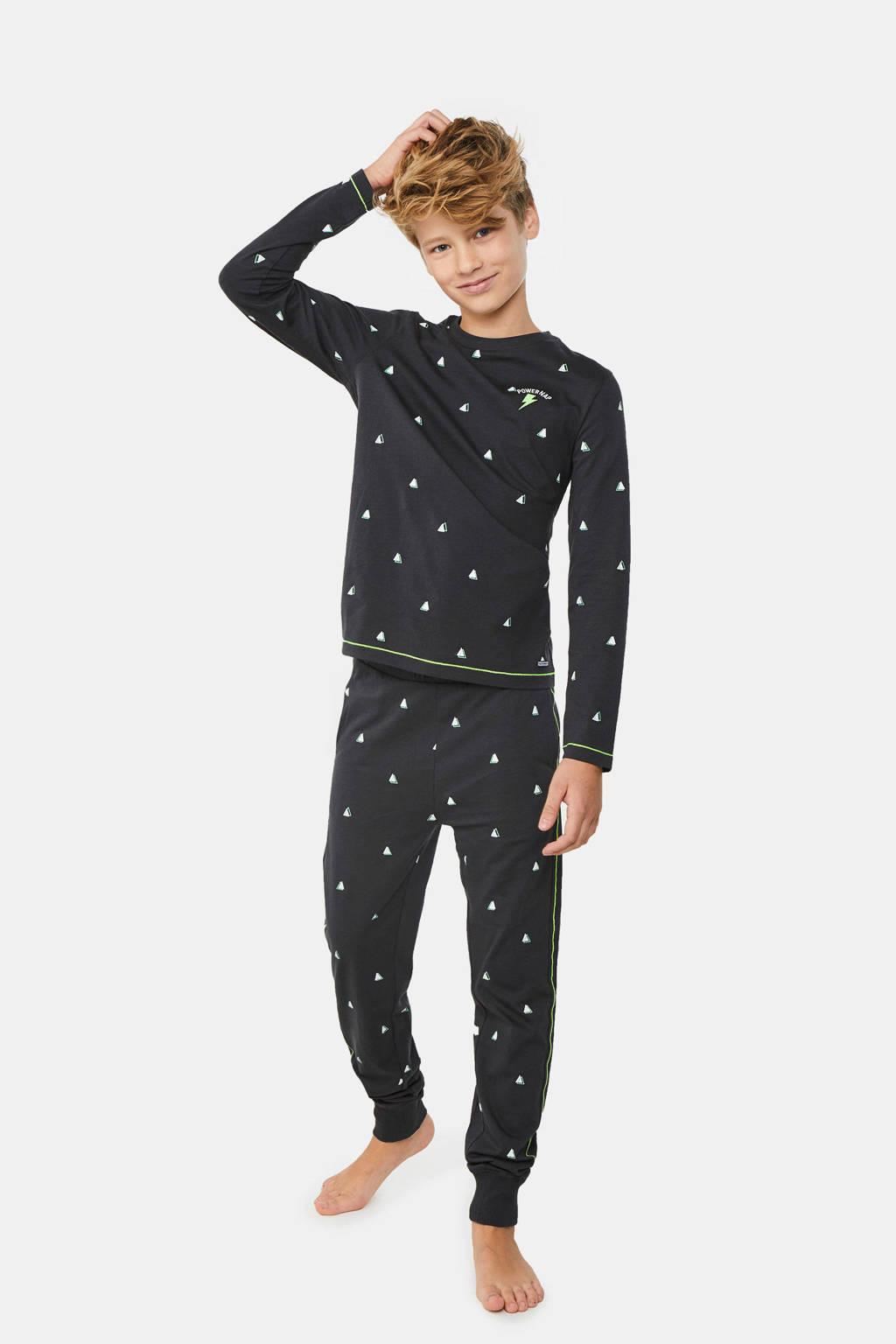 WE Fashion   pyjamaset donkerblauw/wit/groen, Donkerblauw/wit/groen