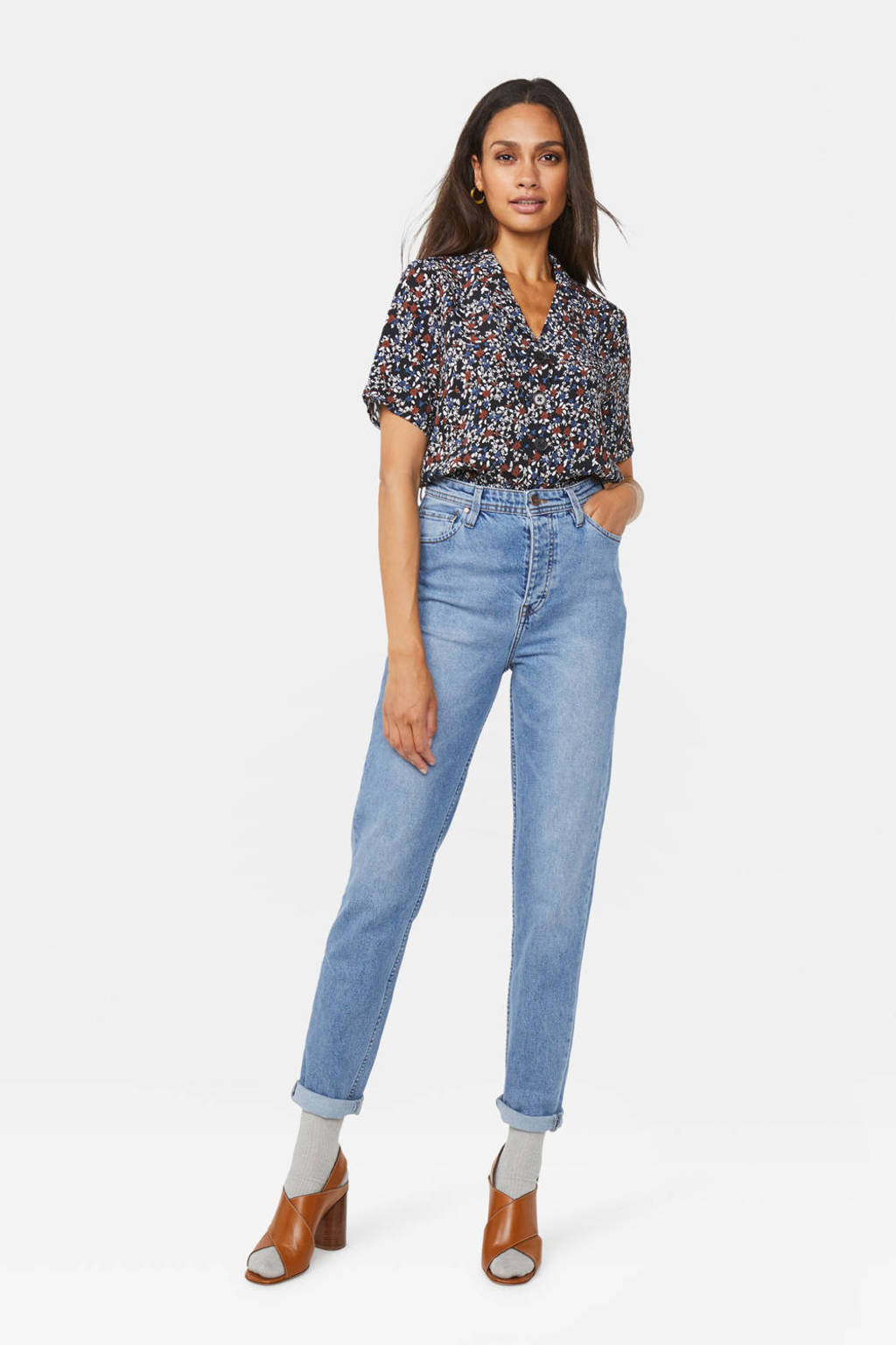 WE Fashion Blue Ridge high waist tapered fit jeans, Light denim