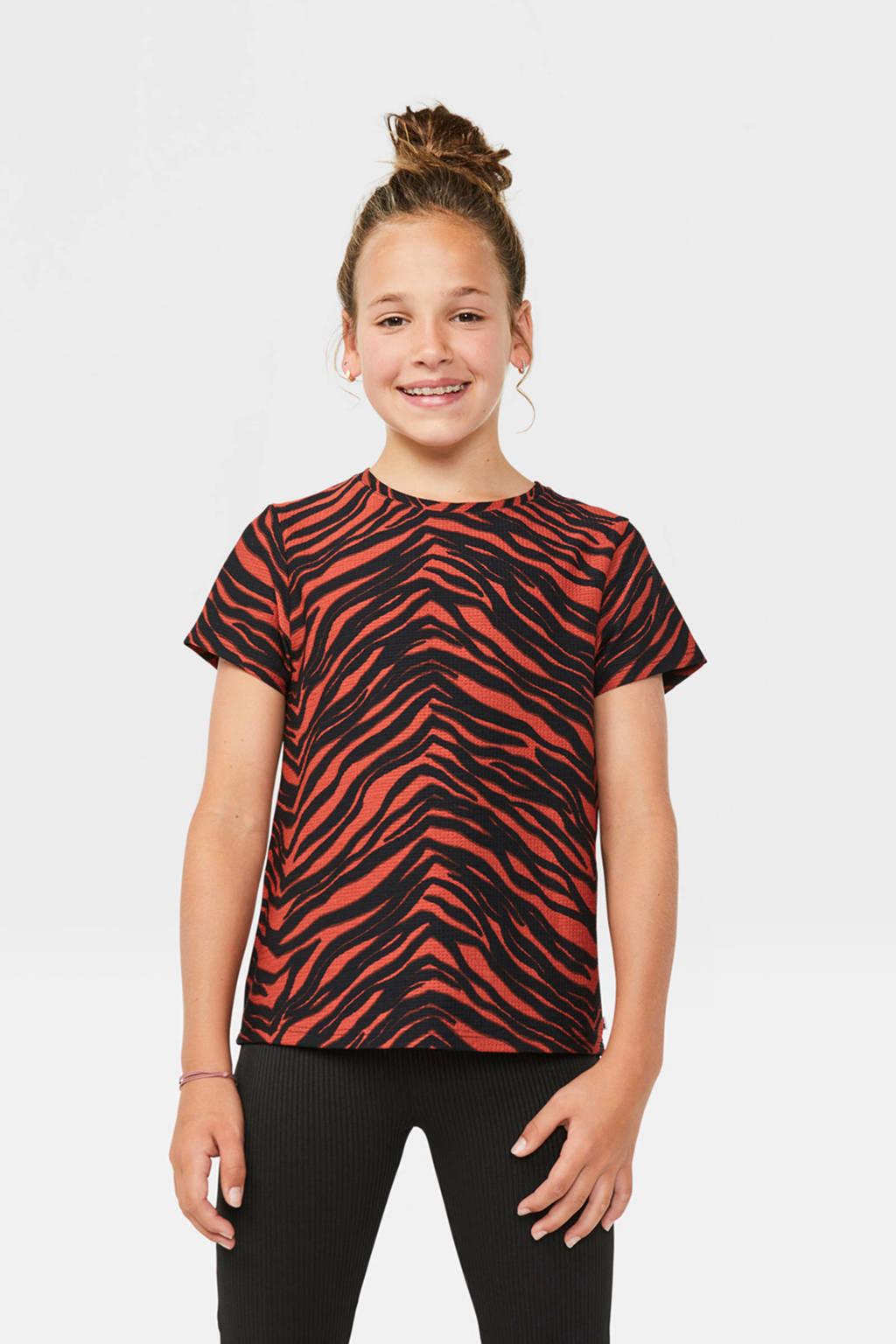 WE Fashion T-shirt met zebraprint rood/zwart, Rood/zwart