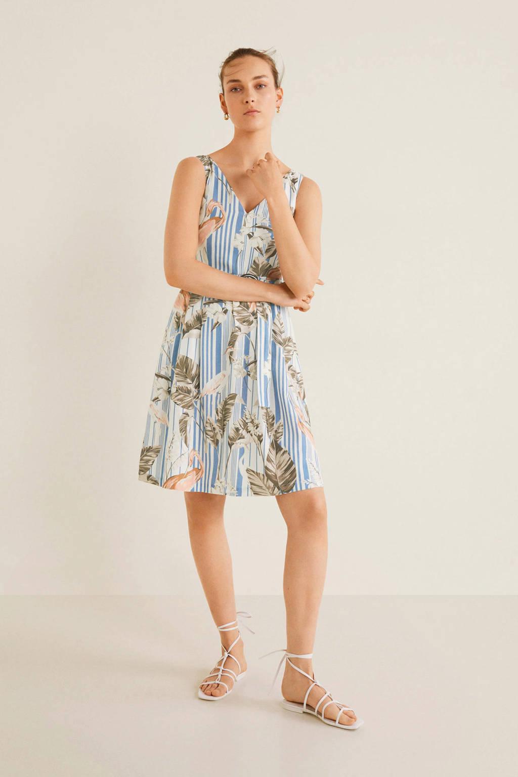 Mango jurk met linnen en all over print blauw, Blauw