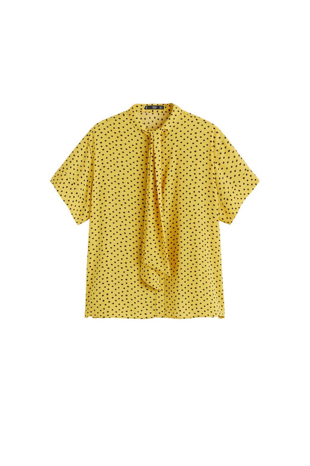 Mango blouse met stippen geel, Geel