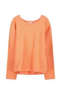 fred + ginger gestreepte longsleeve met linnen oranje, Oranje