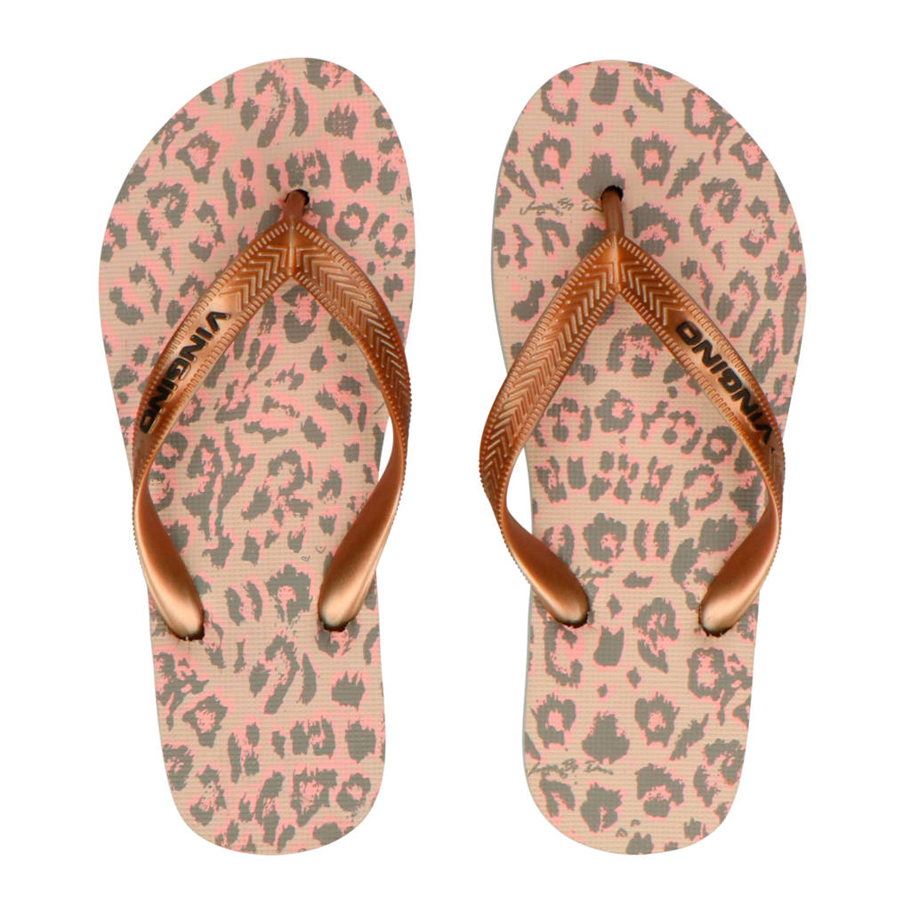 Vingino Sallie teenslippers met panterprint, Goud