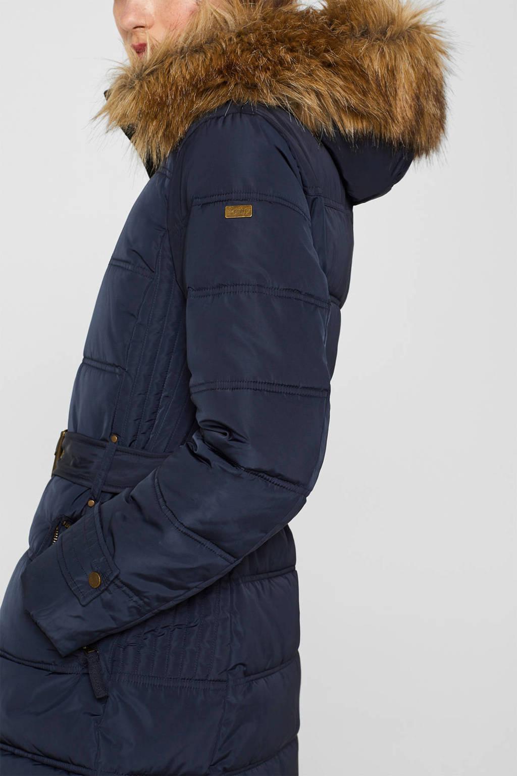 ESPRIT Women Casual winterjas met ceintuur donkerblauw, Donkerblauw