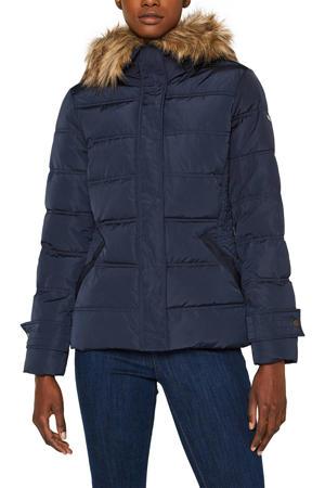 Women Casual gewatteerde winterjas donkerblauw