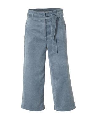corduroy high waist culotte met textuur lichtblauw