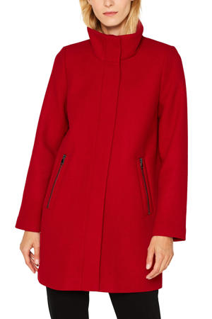 Women Casual coat met wol rood