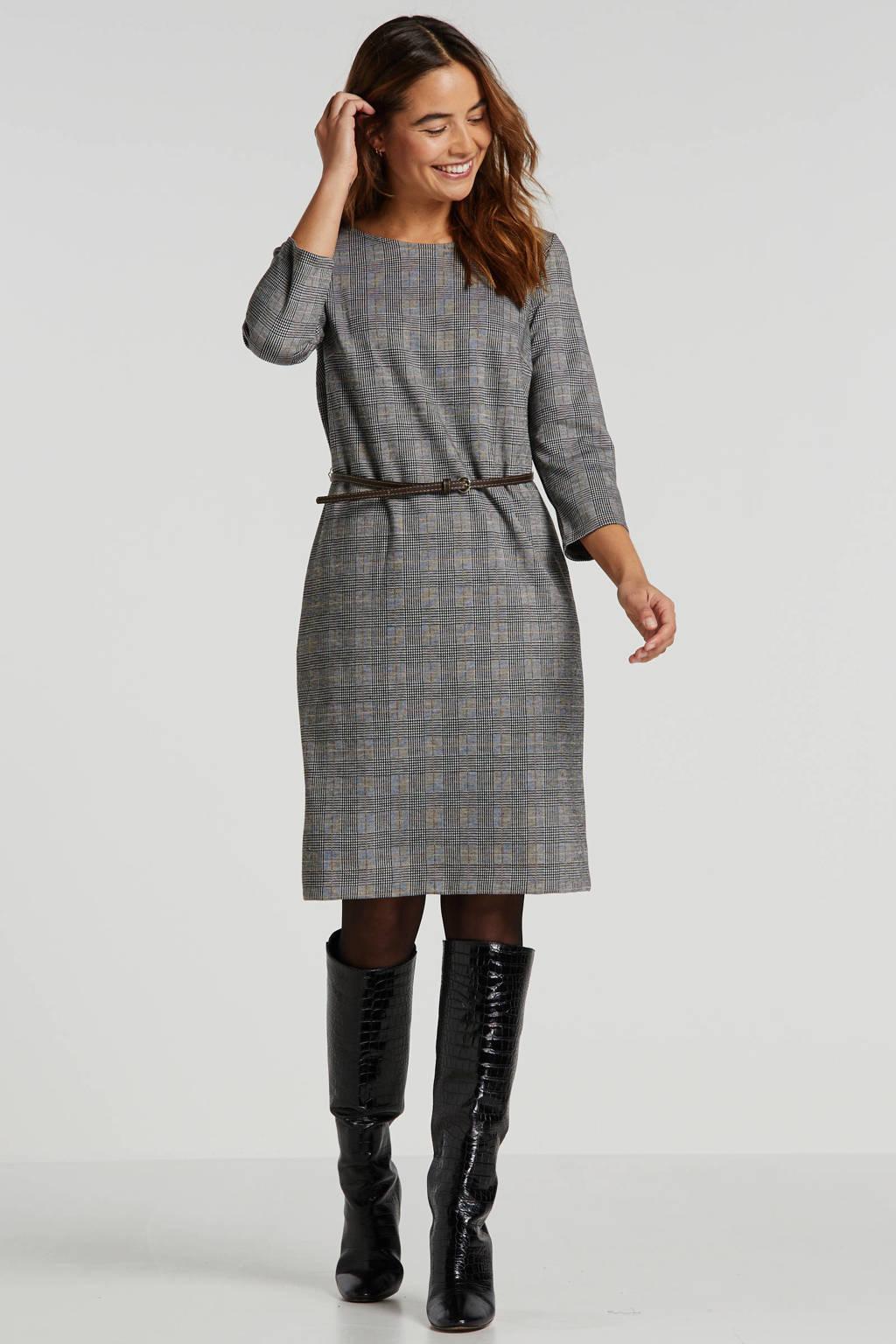 ESPRIT Women Collection geruite jurk bruin, Grijs/zwart/ecru