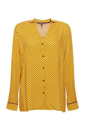 Women Collection geweven blouse met all over print geel
