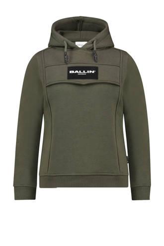 sweater met logo legergroen